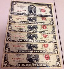 "Buy FV$27.00 Lot ""Red Seals"" $5&$2 US Notes Mixed 1953-1963-GREAT LOT!"