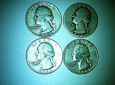 Buy lot of 4 Washington pre 1965 quarters 90% silver