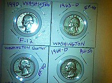 Buy lot of 4 Washington silver quarters 1940,1962,1963 and 1964-D