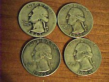 Buy Great 4 coin lot-4 Wash. .25cent-1947,1955,1954 & 1962-90% silver coins
