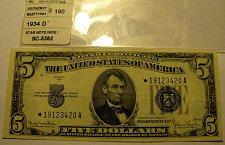 "Buy Large US Bill 1934 D Serial 19123420A ""STAR"" Clarke/Snyder FINAL $39.00"