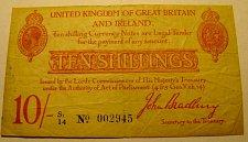 Buy British WW 1 period TEN SHILLINGS John Bradbury  Last chance!!!!