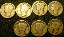 Buy 7 Merc. Silver Dimes 1920,23,24,25,26,27 & 28  Reduced to $  1.19  each ! #7 A