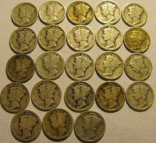 Buy 23 Mercury Dimes-all dates readable ALL  1920's  Come & Get em' !!   LOT 17 B