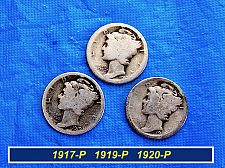 Buy 3 Early Date Mercury Dimes  ⭐️  1917-P,  1919-P, & 1920-P ⭐️  (3.14)