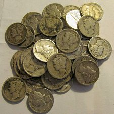 Buy Roll 73 -50 Mercury Dimes 1919-S to 40's Good Mix-PLUS 5 more FREE Merc's!!