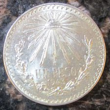 Buy 1943 Mexican Silver 1 Peso Silver Cap and Ray **BRILLIANT UNCIRCULATED**