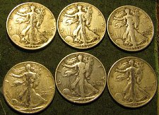 Buy Walking Liber Half Dlrs 1943S; 2 X 1940; 2 X 1946 &1945 +4 FreeBARBERDIMES!!!!