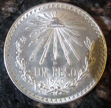 Buy 1940 Mexican Silver 1 Peso Silver Cap and Ray **BRILLIANT UNCIRCULATED*