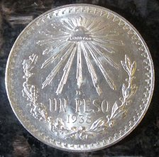 Buy 1938 Mexican Silver 1 Peso Silver Cap and Ray **BRILLIANT UNCIRCULATED*