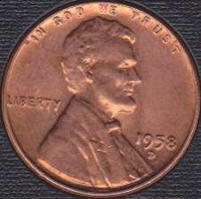 1958 D Lincoln Wheat Penny Coin Value Prices, Photos & Info
