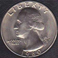 1980 P Washington quarter in BU condition
