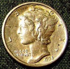 Buy 1936 Mercury Dime BU near FULL BANDS toned + 2 FREE Mercuries/A-27