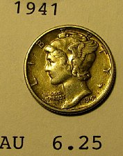 Buy 1941 choice Mercury Dime  AU   plus     A-21