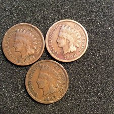 Buy 1897-p,1907-p.1908-p indian head pennys