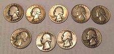 Buy Lot of 9 Washington Quarters 1940-1945, 1947-1949 (90% silver)