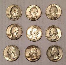 Buy Lot of 9 Washington Quarters 1950-1952, 1954-1959 (90% silver)
