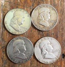 Buy Lot of 4 Franklin Half Dollars (1948-49, 1951-52)
