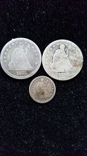 Buy Lot of 3 Liberty Seated Coins Quarters and Half Dime