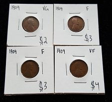 Buy Lot of 4 1909 Wheat Cents