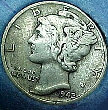 1942 D Mercury Dimes 42 Over 41 Winged Liberty Silver Dime