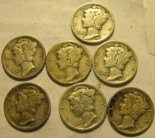 Buy 7 Mercury Dimes all S's    B-08  $1.39 ea.  1 Time $ A L E  ++