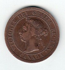 Buy Canadian: 1890 H One Cent Victoria Penny /  MC69