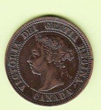 Buy Canadian: 1891  LLSD   One Cent Victoria Penny- VF  /  MC76