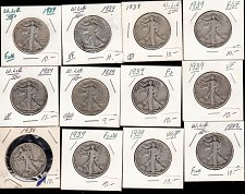 Buy Walking Liberty (12) collection : Mixed Conditions and all from 1939 / MC-79