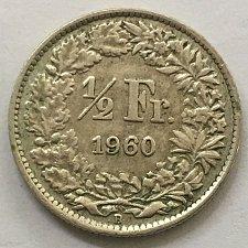 Buy SWITZERLAND 1960 B  1/2 FRANC SILVER