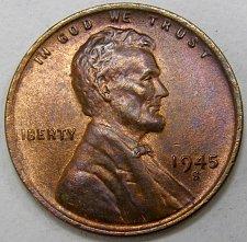 1945 S Lincoln Wheat Cent Bronze Composite Penny Value