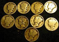 Buy 9 Mercury SILVER Dimes 4 x 1917's, 1918, 1923, 1924, 2 x 1927's