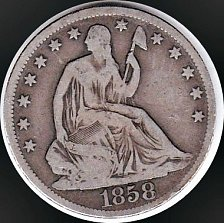 Buy 1858 O STEATED LIBERTY HALF DOLLAR 50C(176) VG Details