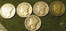 Buy Mercury dimes1920, 20-S; 23; 24; & 25 /D-34 FINAL LISTING   ------