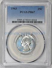 PR67 1963 SILVER WASHINGTON QUARTER PCGS GRADED 25C PROOF COIN LIBERTY US PR 67