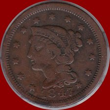 Buy 1847 Braided Hair Liberty Head Large Cents  (321)