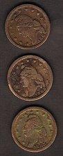 Buy Lot Of (3)1863 Civil War Token,Liberty Cap(Obverse) & Crossed Cannons, Drum,& Fl