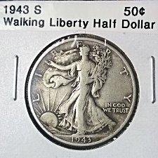 1943 S Walking Liberty Half Dollar Coin Value Prices, Photos