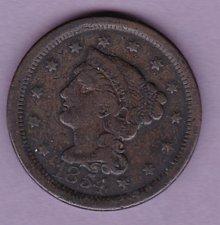 Buy 1854 Braided Hair Liberty Cent  (N154)