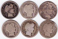 Buy 6 Barber Dimes. 1899-S, 1908, 1909, 1910, 1910-D, 1916-S