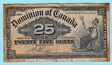 Buy Dominion of Canada  dated  1-2- 1900    25 cent note   /   BW3