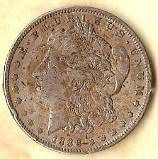 Buy 1888 P Morgan Silver Dollar a bit discolored obverse but fine detail & tail feat