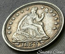 Buy 1853 Seated Liberty Half Dime ~ with arrows ~ XF