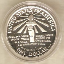 Buy 1986 S Statue of Liberty Silver Dollar Frosted Deep Mirrorlike Proof