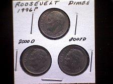 Buy 3 COIN SET ROOSEVELT DIMES  1996P -  2000D - 2007D