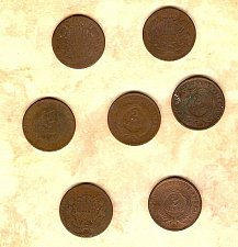 Buy Seven well circulated Two Cent Pieces priced to go