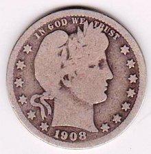 Buy 1908 D Barber Quarter