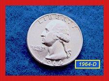 """Buy 1964-D   Washington Quarter  ✬   """"AU""""  ✬(#2643)a"""