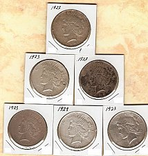 Buy Lot of 6 1923 P Peace Silver Dollars