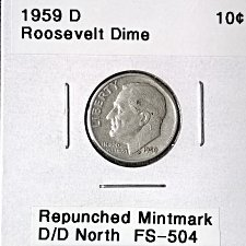 1959-D Silver Roosevelt dime Double punched D.